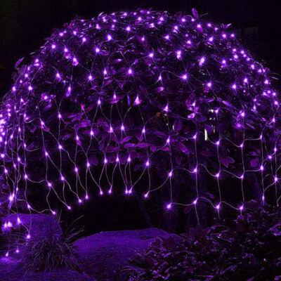 LED Kültéri Beltéri Háló Fényháló Toldható Fehér Vezeték LILA 1,6mx1,2m