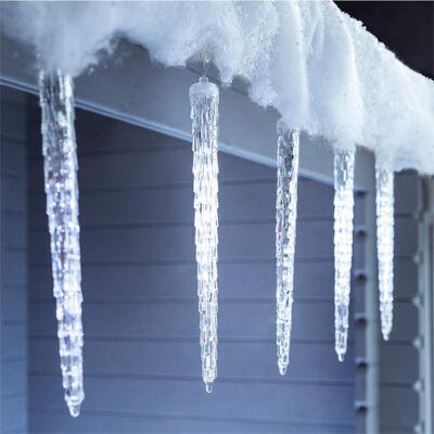 Olvadást imitáló csepegő jégcsap 30cm Hideg Fehér Extra Valósághű