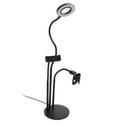 LED körfény ring light állvány telefon és mikrofon tartóval 3 színhőmérséklet