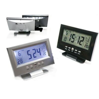 Hangvezérléses LCD ébresztős óra hőmérővel