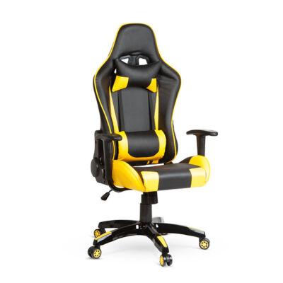 Gamer szék párnával fekete sárga