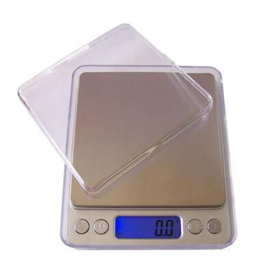 Digitális zsebmérleg ékszermérleg konyhamérleg 500g 2 tálcával