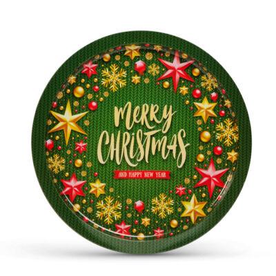 Karácsonyi fém tálca 31cm 55932I