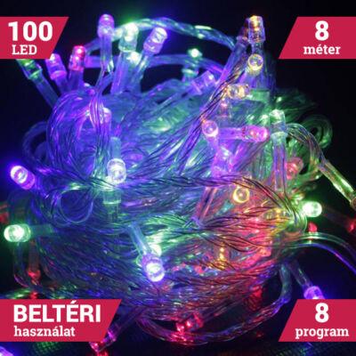 100 LED SZÍNES Karácsonyi Beltéri Fényfüzér