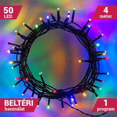 50LED Elemes Karácsonyi LED Fényfüzér SZÍNES