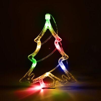 Karácsonyi LED elemes ablakdísz karácsonyfa 20cm színes
