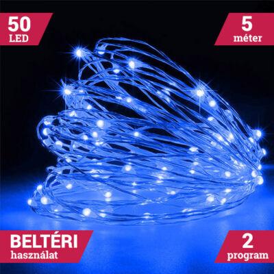 LED tündérfény fényhuzal 5m 50LED KÉK