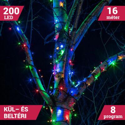 Kültéri 200 LED SZÍNES Karácsonyi Fényfüzér