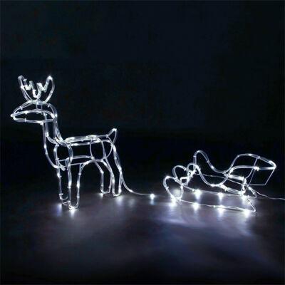 LED rénszarvas szánnal kültéri beltéri álló 60cm hideg fehér karácsonyi világítás