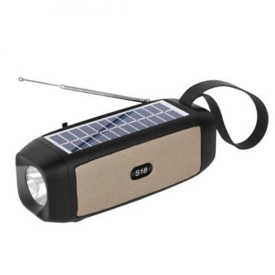 Napelemes Bluetooth Hangszóró TF USB AUX FM zseblámpával