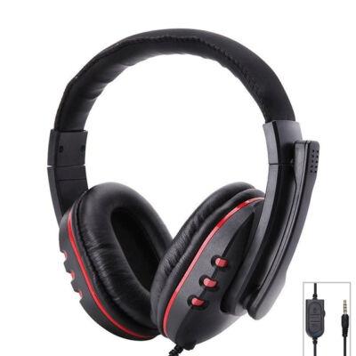 Gamer vezetékes fejhallgató piros GM-002