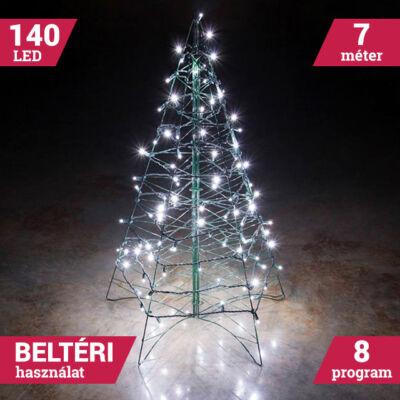140 LED HIDEG FEHÉR Toldható Fényfüzér zöld vezeték