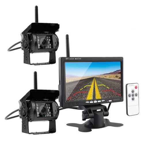 """Vezeték nélküli kétkamerás tolatókamera szett LCD monitorral 7"""" 12/24 V"""