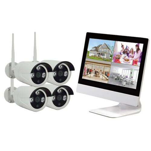 WIFI Vezeték Nélküli Biztonsági Kamera Rendszer Monitor és Rögzítő egyben 4 Kamerás CCTV K9504-W
