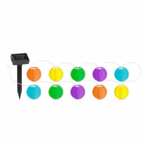 Szolár lampion fényfüzér 10 db színes lampion LED 3,7 m