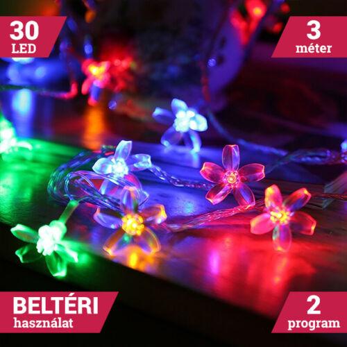 LED sakura fényfüzér átlátszó vezeték 30LED 3m színes