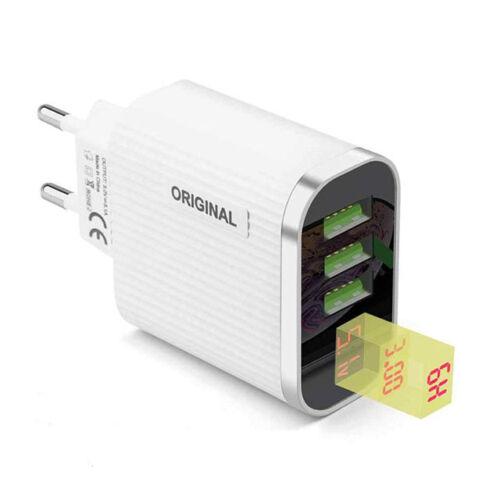 Original digitális kijelzős hálózati töltő adapter gyorstöltéssel 3 USB port 3,1A
