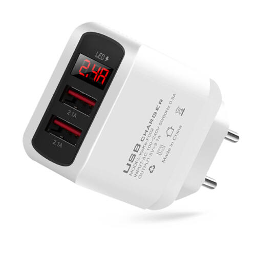 LED kijelzős gyorstöltő adapter 3.1A 2x USB KeKe-F002