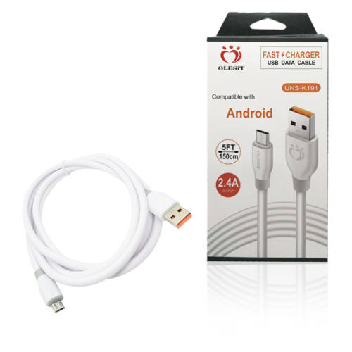 OLESiT Töltő és adatkábel Android Telefonhoz Micro USB 150cm fehér UNS-K191